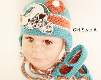 d103d23053e Handmade Crochet Football Baby Hat and Booties Set  Miami Dolphins Inspired  (Girl)  Photo prop