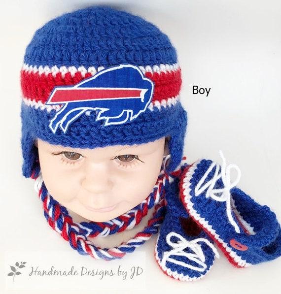 577790a88b5 Handmade Crochet Football Baby Hat and Booties Set Buffalo