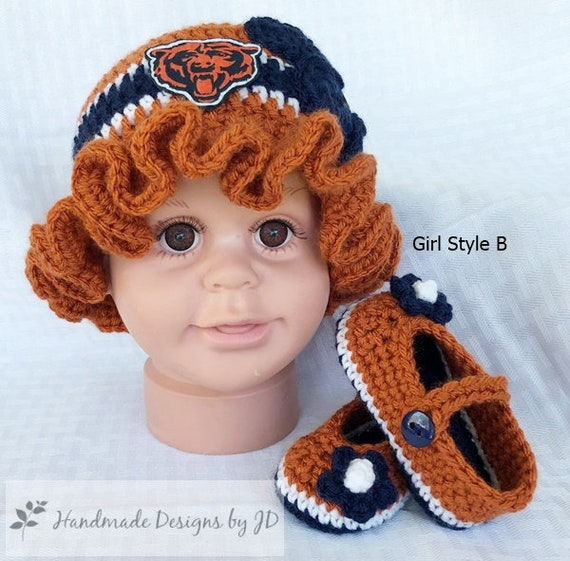 999ee8f0f91 Handmade Crochet Football Baby Hat and Booties Set Chicago