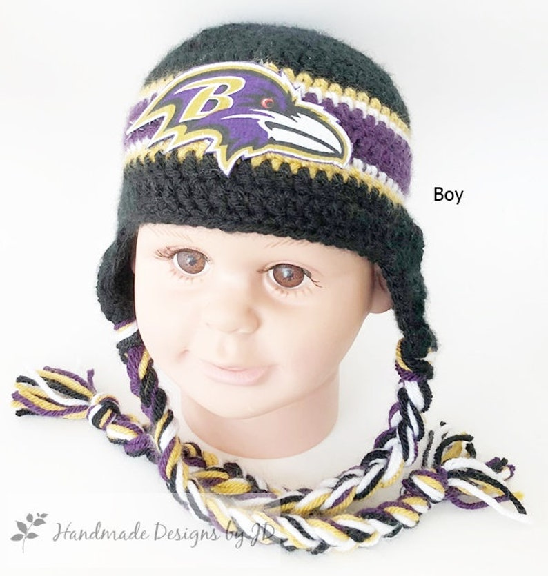 6ae3a2c1 Handmade, Baby Crochet Baltimore Ravens inspired HAT ONLY in Boy Style,  (Newborn to Adult); Photo Prop and Baby Shower/Birthday Gift