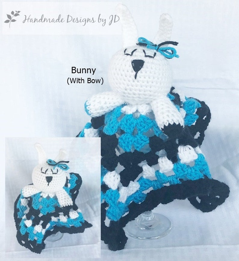 74aad8b49 Handmade Crochet Carolina Panthers Inspired Lovie Blanket, Baby to Child  Toy; Photo Prop and Baby Shower/Birthday Gift; Football Lovie