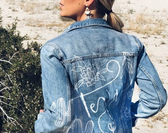 Custom Jean Jacket - Custom Lettering - Vintage Denim Jacket Calligraphy - Festival Jacket - Men and Women's Personalized Rocker Jacket I0xPuMmfzL