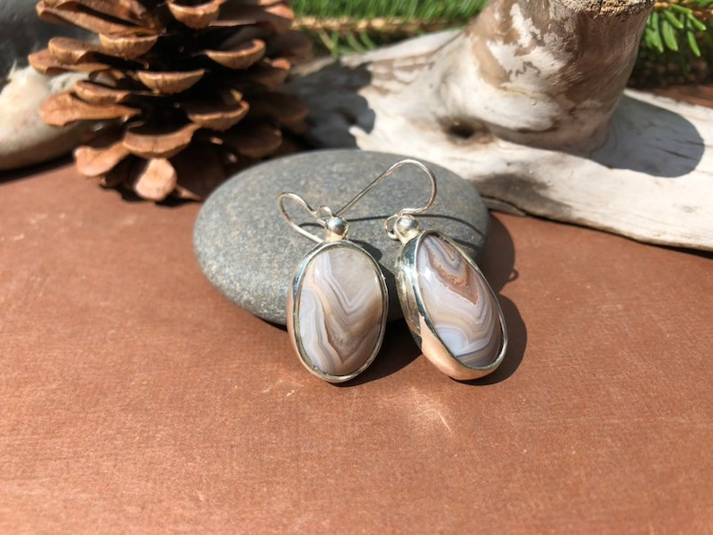 Drop Earrings Lake Superior Agate .950 Sterling Silver Banded Tan White Crystal Quartz #220
