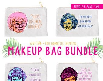 Golden Girl Make up Bag Set // Golden Girls  // Dorothy Zbornak // Bea Arthur  // Blanche Sophia Rose // Thank you for being a friend