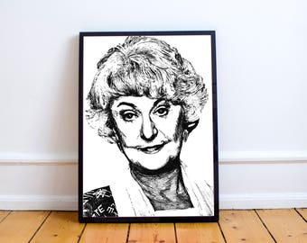 The Golden Girls Wall Art // Dorothy Zbornak // Bea Arthur // Blanche Sophia Rose Dorothy // Thank you for being a friend // Bea Arthur Art