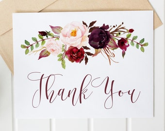 bridal shower thank you card fall autumn floral maroon printable thank you digital thank you card