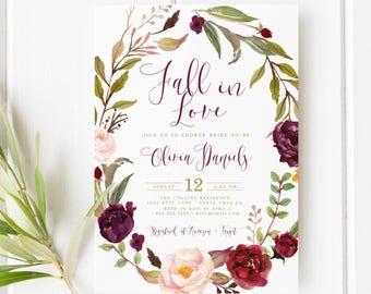 Autumn Bridal Shower Invitation, Fall, Boho bridal shower, Marsala, Falling in love, fall in love bridal shower, Maroon, gold invites
