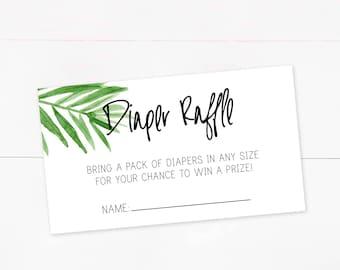6b4f6fd79 Diaper Raffle, Tropical, Palm Leaf, Digital Download, Baby Shower Raffle,  INSTANT DOWNLOAD, Raffle ticket