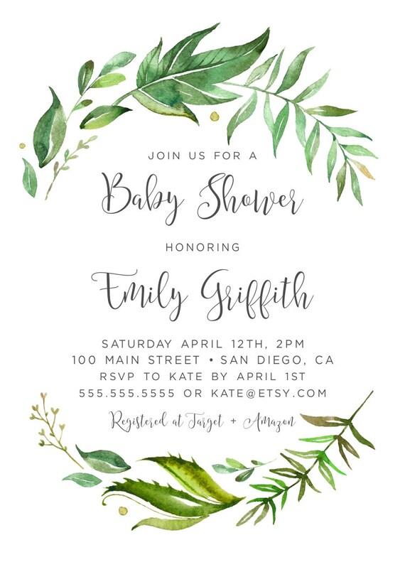 Greenery Baby Shower Invitation Baby Shower Invitation Etsy