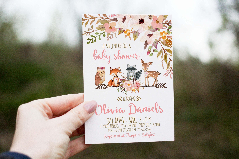 Woodland Baby Shower Invitation Girl Deer Baby Shower  Etsy-5438