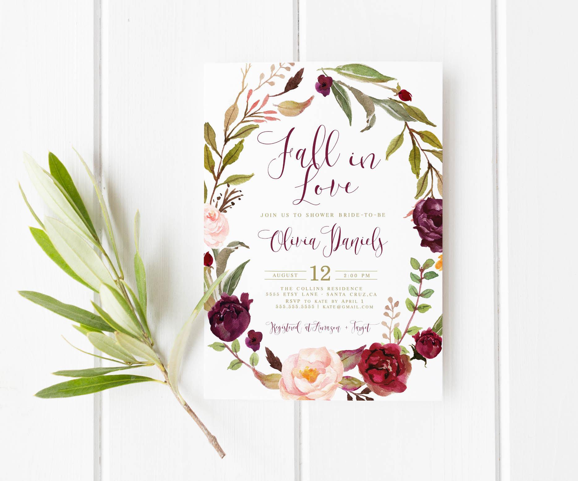 Fall Wedding Shower Invitations: Autumn Bridal Shower Invitation Fall Boho Bridal Shower