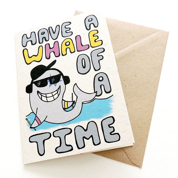 Remarkable Birthday Party Greetings Card Have A Whale Of A Etsy Personalised Birthday Cards Bromeletsinfo