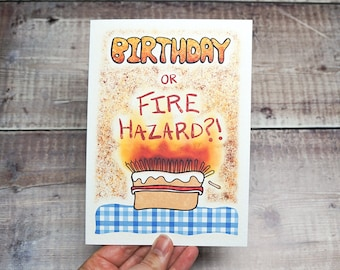 Funny Birthday Card for Old People! | Birthday or Fire Hazard? | Illustrated Joke Greetings Card | UK Shop