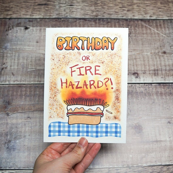 Funny Birthday Card For Old People Birthday Or Fire Hazard Etsy