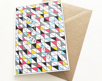 Happy Birthday To You Card | Modern & Geometric Greetings Card | Colorful Unisex Pattern
