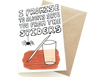 Sweet Spider-Catcher Card | Romantic Love Greetings Card for Valentine's Day or Just Because | Cute Illustration | UK Shop