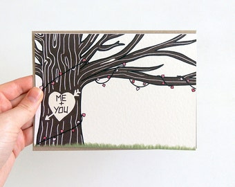 ME + YOU Romantic Greetings Card for your Loved One | Carved Tree Illustration | Valentine's Day Card