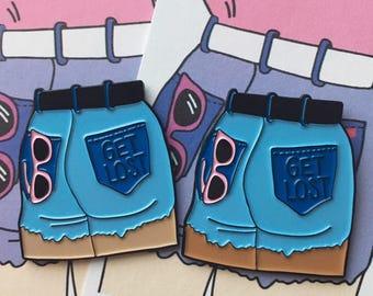 Jean shorts feminist enamel pin / 80s lapel pin / 90s hat pin