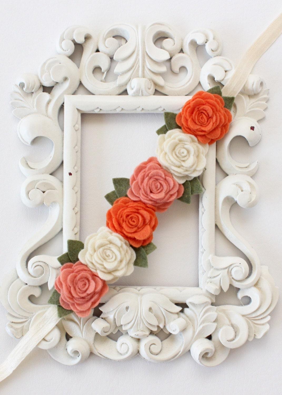 Peach flower crown orange and peach headband flower crown etsy zoom izmirmasajfo