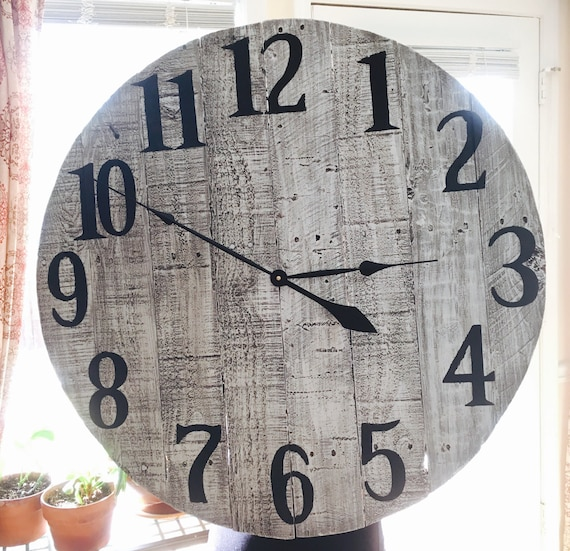 Items Similar To 30 Quot Farmhouse Style Clock Whitewashed