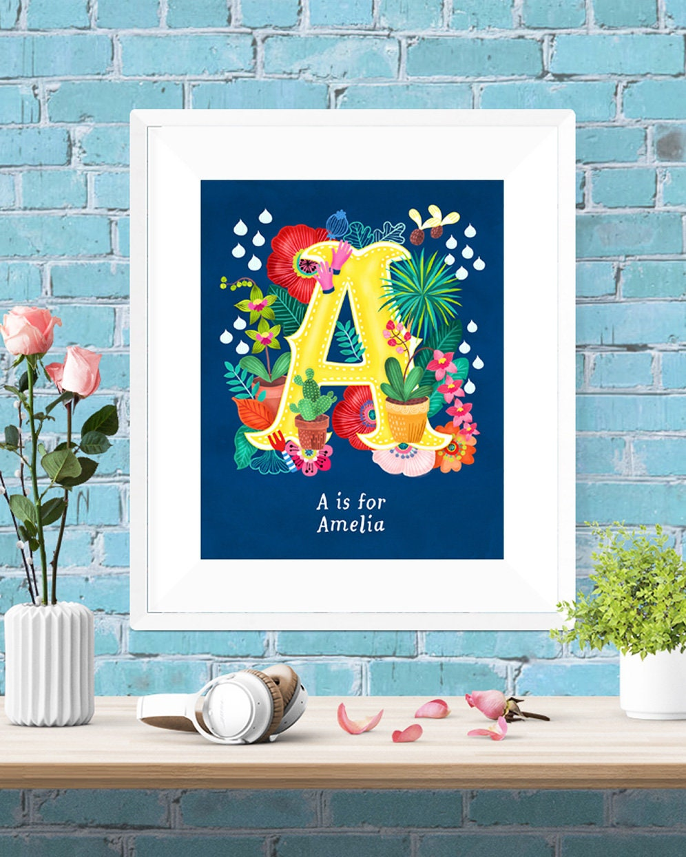 Initial Wall Decor: Personalised Custom Initial Letter Floral Poster Wall Art