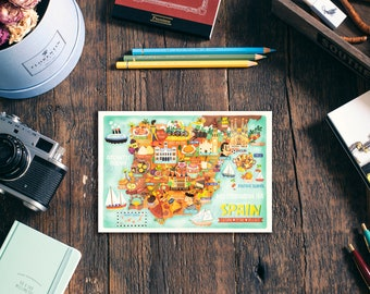 Spain Map Postcard. Illustrated map of Spain A6 size