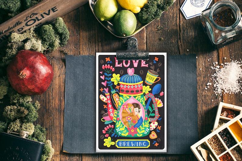 Coffee Lovers-Barista Magic Post Card Illustration Mini Print Wall Art