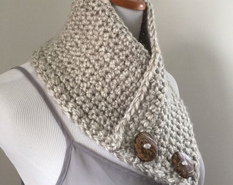 Hand Crocheted Buttoned Neck Warmer Neck Wrap Scarf