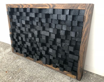 Reclaimed Wood, Sound Diffuser, Acoustic Panel, SoundProofing, Pixel, art, Black wood art, 3d art, wooden hanging wall California Redwood