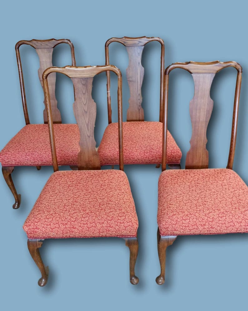 Rare 1800s English Red Pattern Dining Chairs In Original Etsy