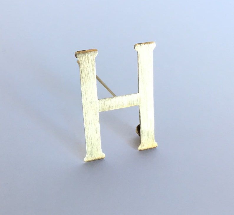 77c933899f1bd Yellow Gold Alphabet Letter H Brooch / Initial H Name Pin / 8K 333 Solid  Gold / Birthday Presents / Alphabet Gift