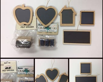 Free Shipping!/33 WOODEN CHALKBOARDS & 5 Mini ERASURES/Heart/Apple/Schoolhouse/Square/Rectangle/Shaped/Miniatures/Crafting/Teacher/Ornaments