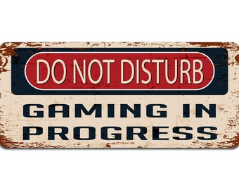 Do Not Disturb: Gaming in Progress | Gaming Gift For Gamers | Vintage Door Sign | Man Cave Decor