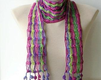 Pink knit scarf, Purple scarf, Scarf women, Striped scarf, Soft scarf, Spring scarf, Lightweight scarf, Lace scarf, Crochet fringe scarf.