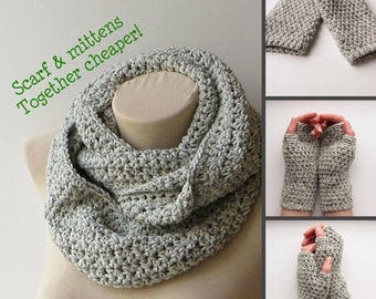 Scarf mittens set, Gray infinity scarf, Thick knit scarf, Crochet set, Infinity scarf crochet, Knit infinity scarf, Set scarf & mitten.