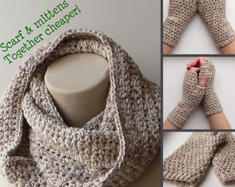 Beige scarf, Set scarf mittens, Womens scarf, Thick knit scarf, Set gloves scarf, Winter infinity scarf, Scarf mittens set, Beige knit scarf