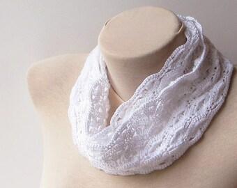 Oversized scarf, Crochet summer scarf, Crochet scarf, White infinity scarf, Crochet circle scarf, Knit infinity scarf, Floral infinity scarf