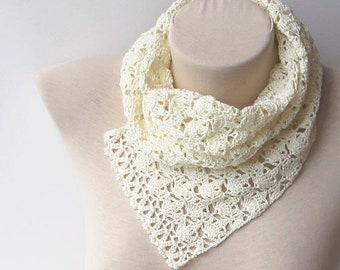 Knitting scarf, Women scarfs, Cotton lace scarf, Crochet scarf, Lace knit scarf, Crochet cotton scarf, Summer scarf, Lightweight scarf.