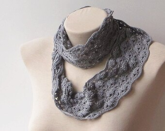Lace infinity scarf, Crochet summer scarf, Gray scarf, Infinity scarf crochet, Crochet circle scarf, Floral infinity scarf, Womens scarf