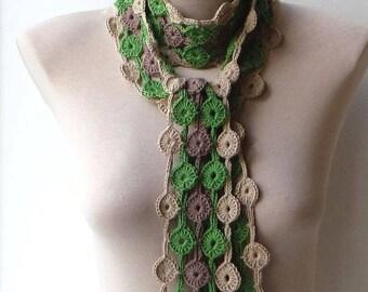 Cotton scarf, Crochet scarf, Scarf for women, Green knit scarf, Neck scarf, Crochet cotton scarf, Multicolored scarf, Soft scarf, Spring.