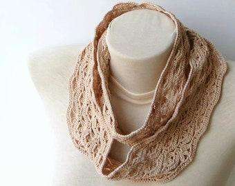 Beige infinity scarf, Floral scarf, Crochet scarf, Lace knit scarf, Scarf women, Crochet summer scarf, Lace scarf, Lace infinity scarf.