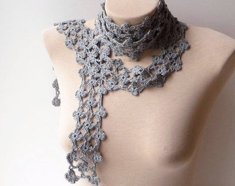 Neck knit scarf, Silver knit scarf, Crochet summer scarf, Scarf women, Floral knit scarf, Knit skinny scarf, Neck scarf, Crochet lace scarf.