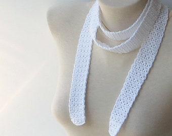 Choker scarf, Women's skinny scarf, White cotton scarf, Necktie scarf, Crochet scarf, Narrow scarf, White skinny scarf, Cotton summer scarf.