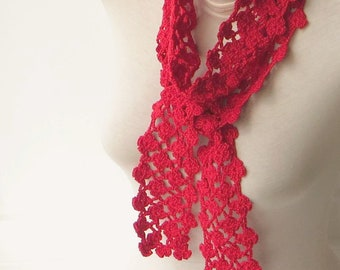 Knit floral scarf, Red knit scarf, Crochet summer scarf, Red crochet scarf, Neck scarf, Red lace scarf, Scarf for women, Lightweight scarf.