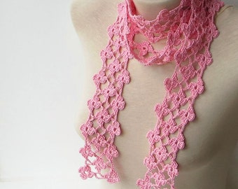 Necktie scarf, Necklace scarf, Knit neck scarf, Pink scarf, Crochet floral scarf, Skinny scarf, Crocheted, Narrow scarf, Lightweight scarf.