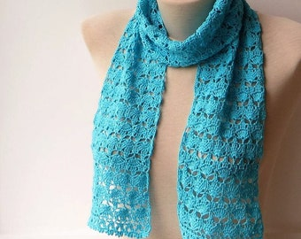 Blue lace scarf, Summer knit scarf, Turquoise scarf, Knitting scarf, Knit cotton scarf, Lace knit scarf, Crochet summer scarf, Women scarfs.