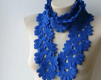 Knitted scarf, Blue knit scarf, Womens scarf, Spring scarf, Lace knit scarf, Soft scarf, Hand knit scarf, Lightweight scarf, Crochet scarfs.