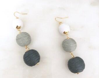 Ball Earrings- Grey Earrings, Long Earrings, Statement Earrings, Drop Earrings, Tassel Jewelry