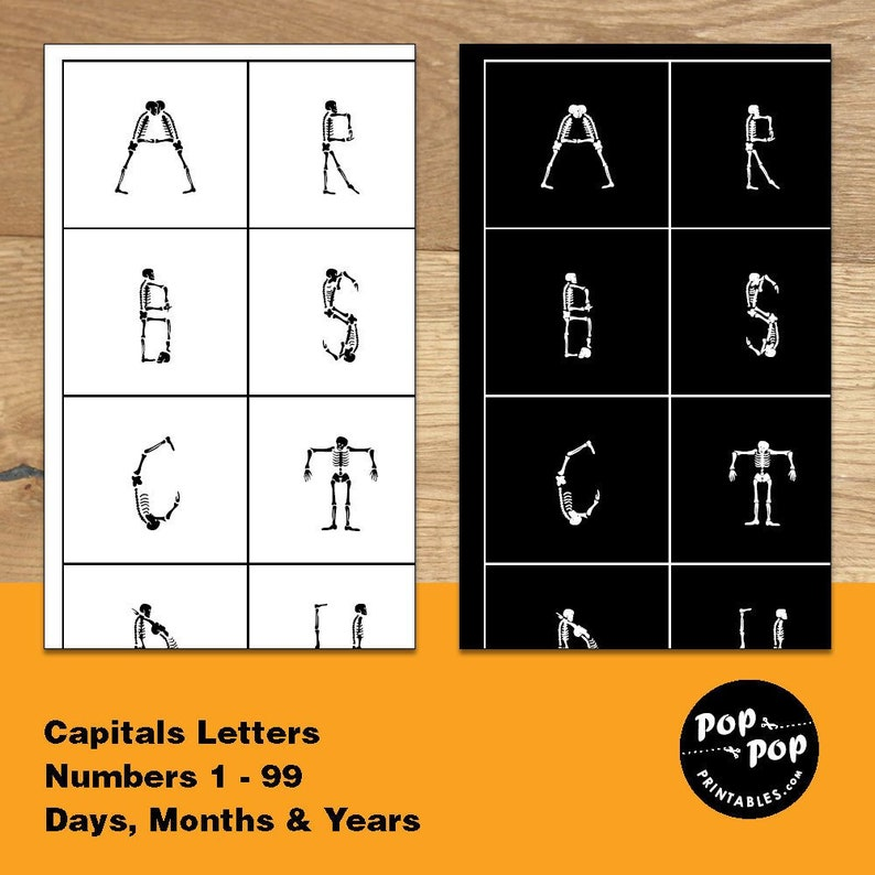 photograph regarding Printable Abc Letters known as Skeleton Alphabet Printable ABC Letters Stickers, Dancing Skeletons Stickers, Skeleton Decal Printable Thirty day period Stickers, Skeleton Sticker