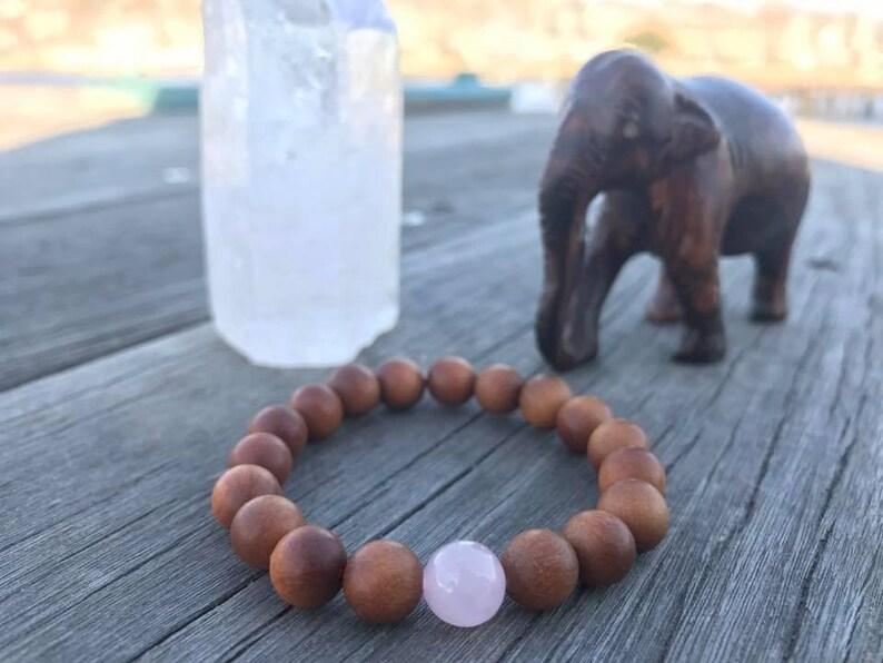 Kids' Bracelet - Sandalwood & Rose Quartz, Wrist Mala, Mantra, Stackable,  Yoga Jewelry, Spiritual, Hippy Kids, Kids' Jewelry